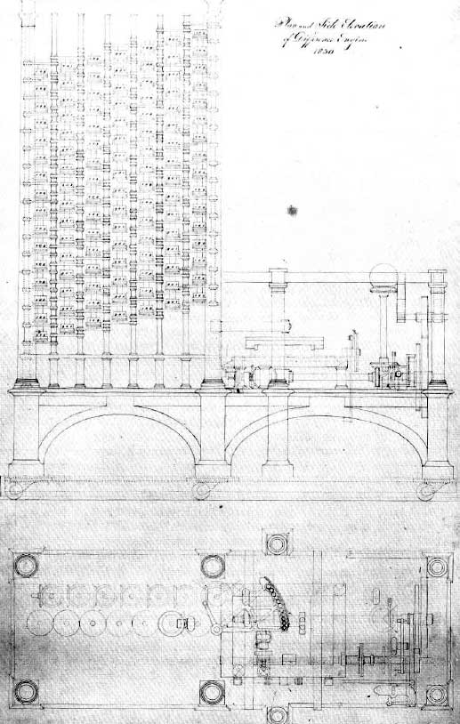 Elevation and plan drawings of Difference Engine