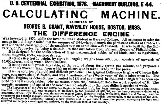he description of Difference Engine of George Grant at the 1876 Centennial International Exhibition