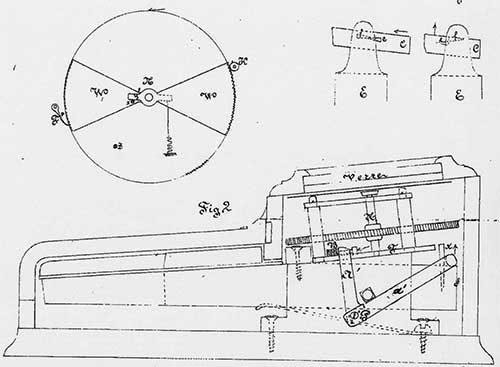 The french patent of Collett (side view of the machine)