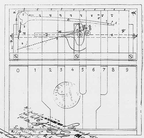 The french patent of Collett (upper view of the machine)