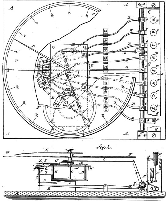 The adding machine of Borland and Hoffmann, patent drawing