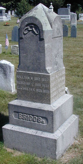 The headstone of William Briggs