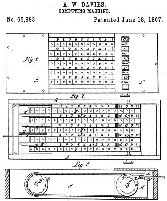 Alexander Davies Adding Machine patent drawing