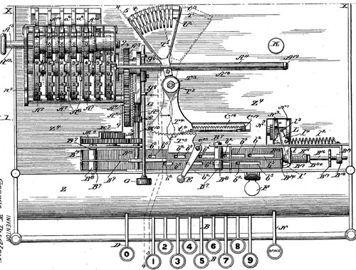 The patent drawing (US554993) of Adding and Printing Machine of George Dudley