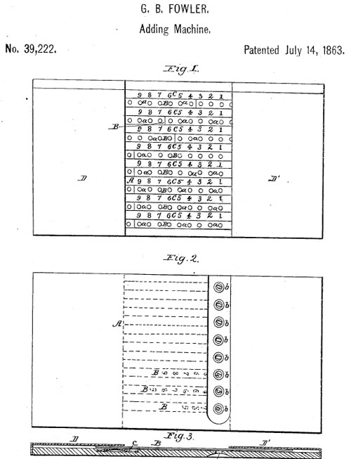 The patent drawing of Fowler