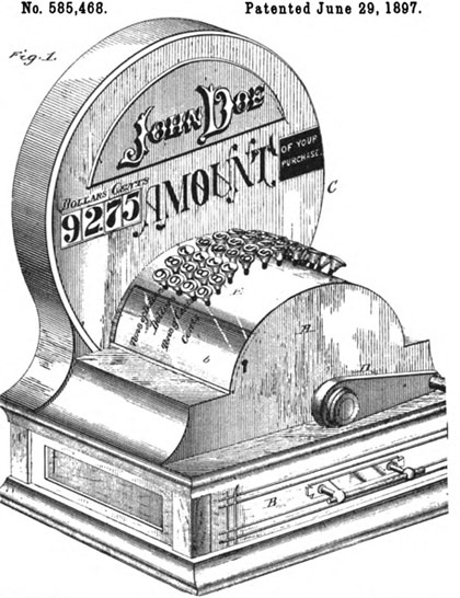 The patent drawing of US patent No. 585468 of Frederick Fuller