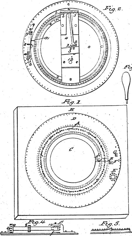 The mechanical calculator of William Haines the patent drawing