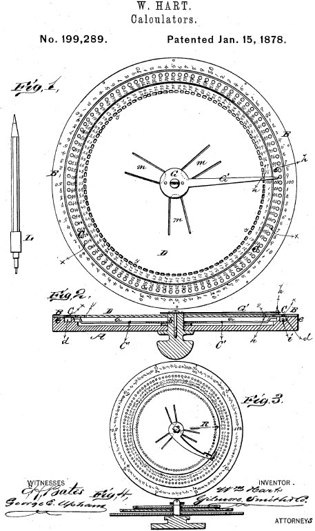 Hart Mercantile Computing Machine patent drawing