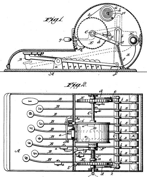 The keyboard adding machine of Lewis Hosea and William Beardsley (the patent drawing)