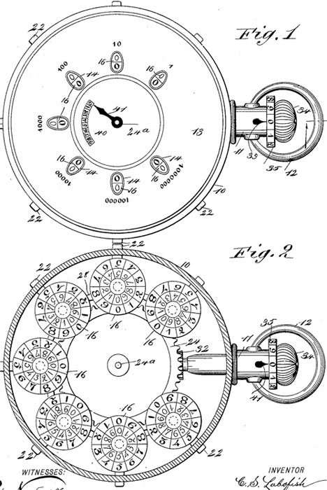 The patent drawing of the first calculating machine of Labofish