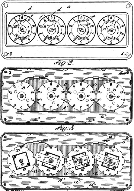 The adding machine of William Lang, patent drawing
