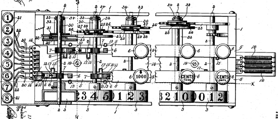 The adding machine of Judah Levin, patent drawing