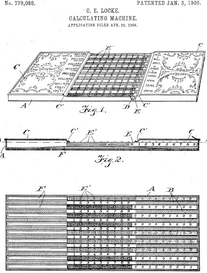 The patent drawing of Locke Adder