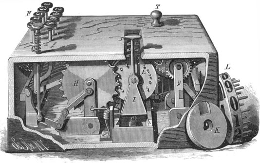 The keyboard adder of William Macnider (the drawing from Scientific American, 29 August, 1885)