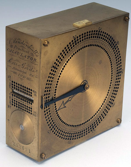 The <em>practical calculator</em> of Amos Mendenhall' width='450′ height='571'></img></p><p>The <em>practical calculator</em> of Amos Mendenhall (© National Museum of American History, Washington, D.C.)</p><p>The <em>practical calculator</em> of Amos Mendenhall is an adder with a brass box which has a rotating disc inset in the top. There are 100 small holes around the rim of the disc. Outside the disc, on the top of the box, is a circular ring numbered from 01 to 99, with a gap at 00. Outside of this are three rings of holes, with 100 holes in each ring. These holes are to be used to hold markers indicating digits carried when the disc makes full rotations. On the side of the box is a rotating multiplication table.</p><p>Amos Mendenhall proposed two methods for recording numbers over 99. The first was a set of 9 holes around the edge of the fixed disc, into which the operator could place a pin. Whenever the rotating disc moved a full turn, the operator moved the pin up to the next hundreds digit. Mendenhall suggested a mechanism which would count the number of times the upper plate rotated, and hence give the hundreds place. If the operator rotated especially energetically, and arrived at higher numbers, he suggested a system of pins to be used to represent thousands and higher places.</p><p><img src=