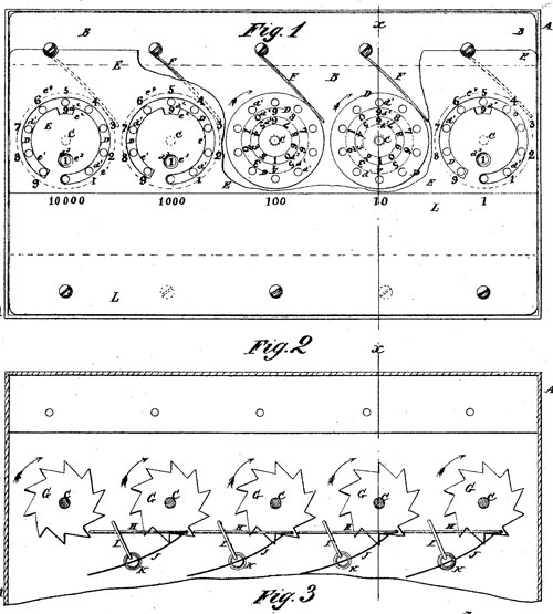 The patent drawing of first adding machine of Moore