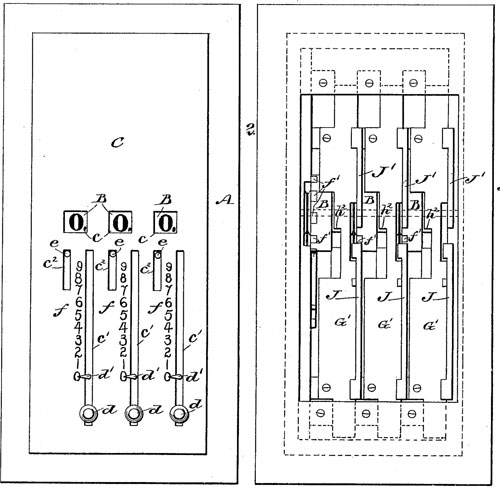 The patent drawing of second adding machine of Moore