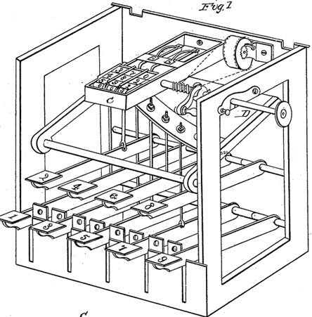 The calculator of Leonard Nutz (the patent drawing)