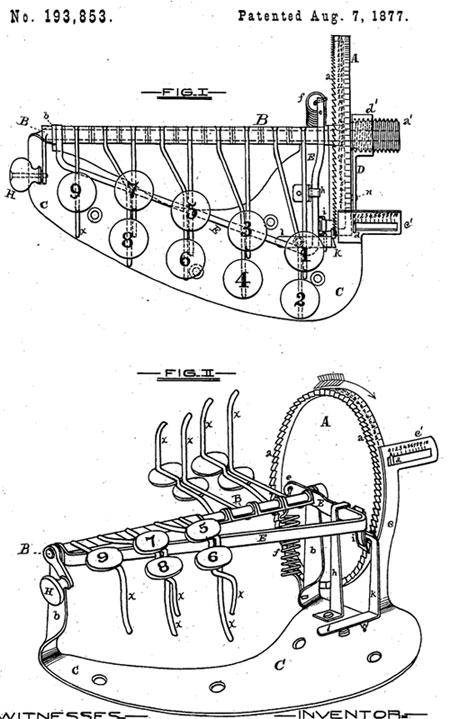 Marshall Cram Adding Machine patent drawing