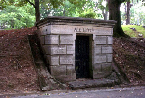 The family vault of James Ritty in at Dayton's Woodland Cemetery