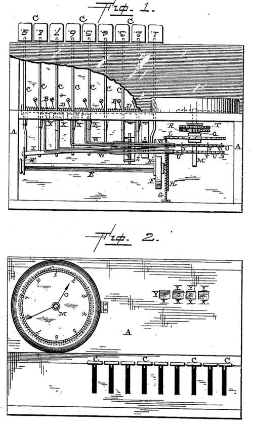 The adding macine of David Marion Rush the patent drawing