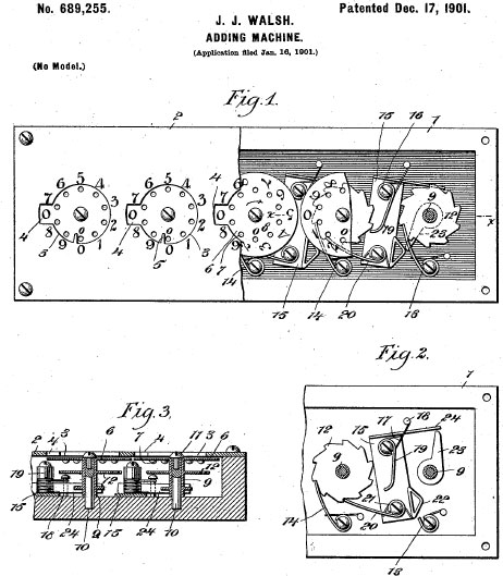 The patent drawing of Walsh