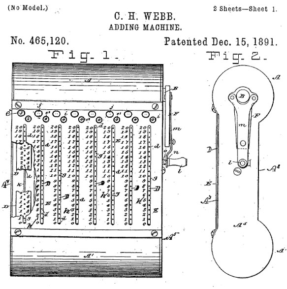 The patent drawing of Webb