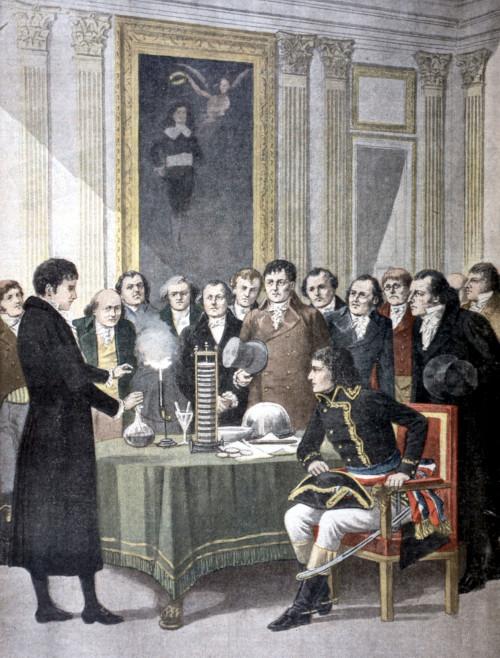Alessandro Volta demonstrating his battery