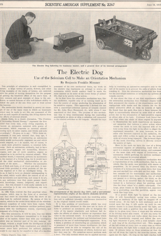 The Electric Dog, presented in Scientific American, 14 June, 1919, written by Benjamin Franklin Miessner