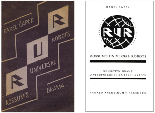 The cover of the first edition of R.U.R., November 1920 (left); the title page of the first edition (right)