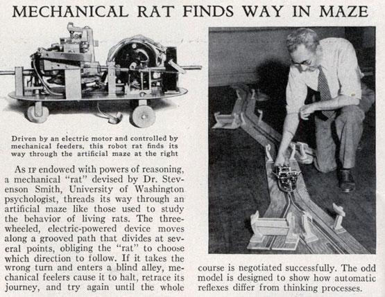 Stevenson Smith demonstrates the Robot Rat in 1935