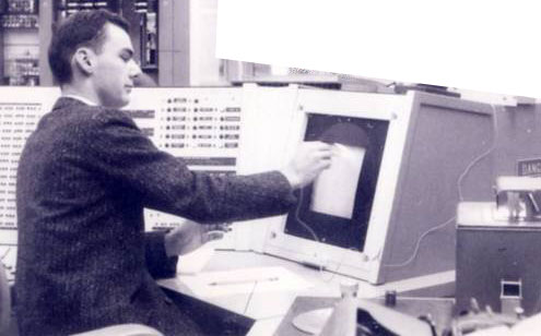 Roberts working on graphics terminal