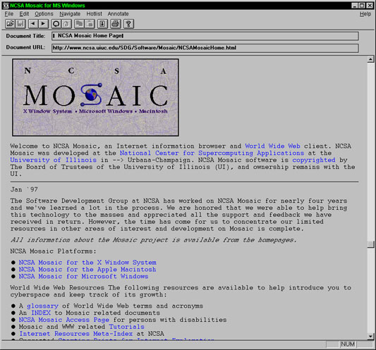 NCSA Mosaic Internet Web Browser beta version