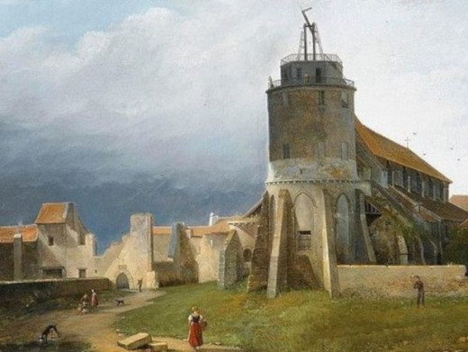 A painting of a Chappe telegraph tower