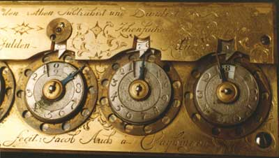 The calculating machine of Jacob Auch, close view