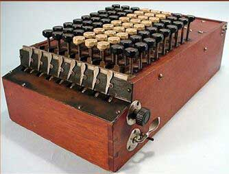 A wooden-case Comptometer from 1887