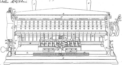 A patent grawing of the calculating machine of Bollée