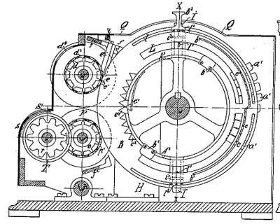 A patent drawing of calculating machine of Küttner