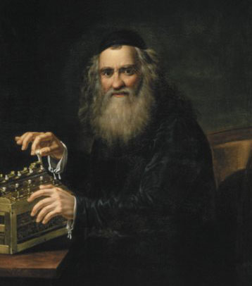 Abraham Izrael Stern with his calculating machine