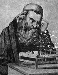 Stern with his calculating machine