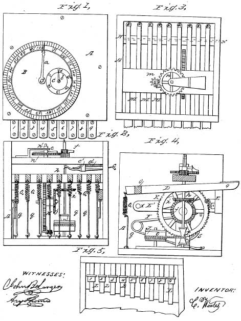 The first page from the patent drawing of the machine of Winter