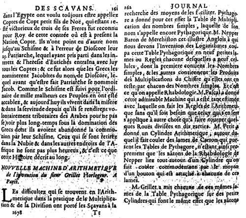 Description of the calculating machine of René Grillet de Roven, page 1