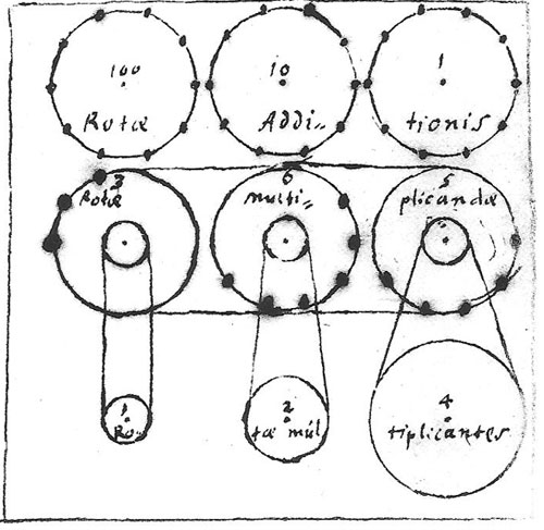 A sketch of Gottfried Wilhelm Leibniz's from 1672