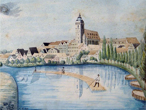 A raft on the Neckar River in Tübingen, a painting by Johannes Pfister from 1620
