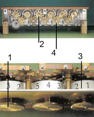 A view to the wheels mechanism of the Schickard's machine of v.