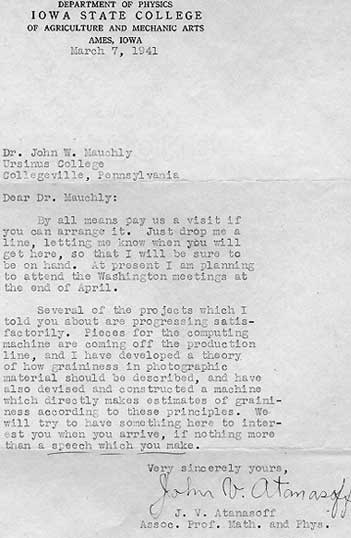 The letter from John Atanasoff to Mauchly