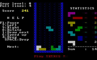 The first MS DOS version of Tetris