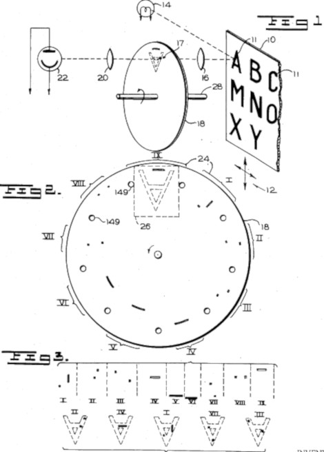 The patent drawing of Shepard Apparatus for Reading