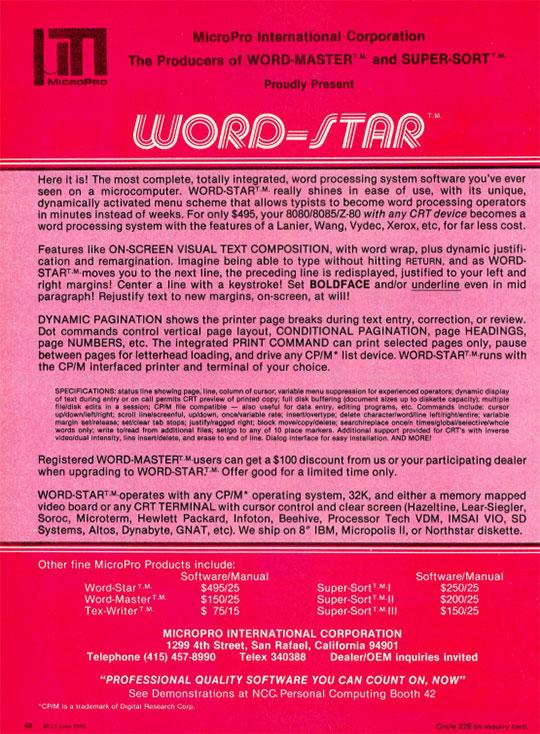 WordStar Ad in BYTE Magazine, June 1979