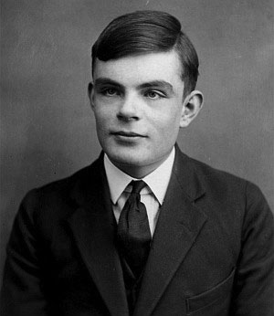 Black and white portrait of a young Alan Turing